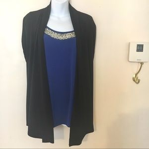 Tops - 1X Beaded Blue Blouse with Attached Black Shrug